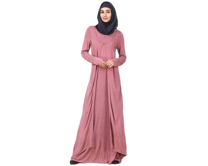 dec46e596de MyBatua Dusty Pink Jersey Abaya Dubai Style Muslim Women
