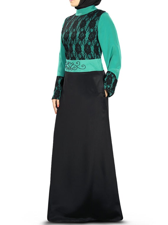 AY-336 Jilbab MyBatua Designer Black And Bottle Green Polyester Abaya Islamic Clothing Dubai Style Party And Occasion Wear Gown