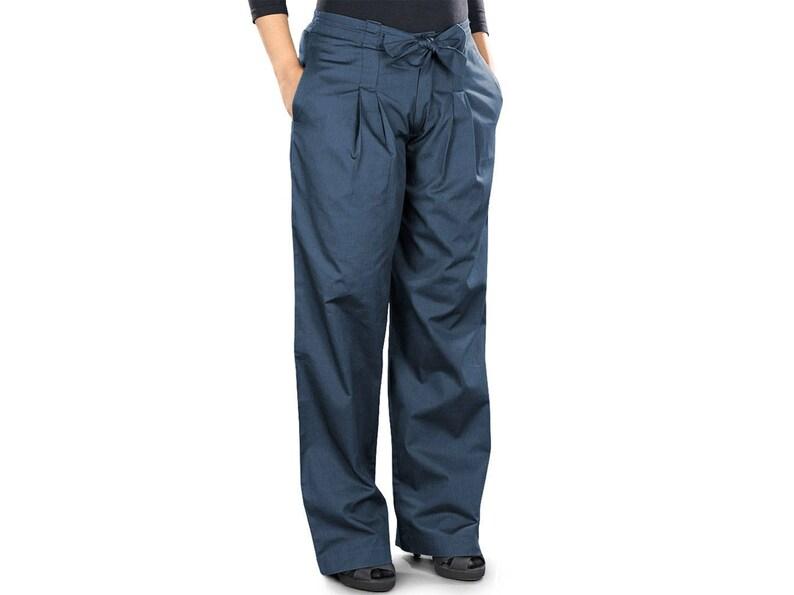 ac44d2cf9e48 MyBatua Muslim Women Navy Blue Classic Cotton Pant Formal And