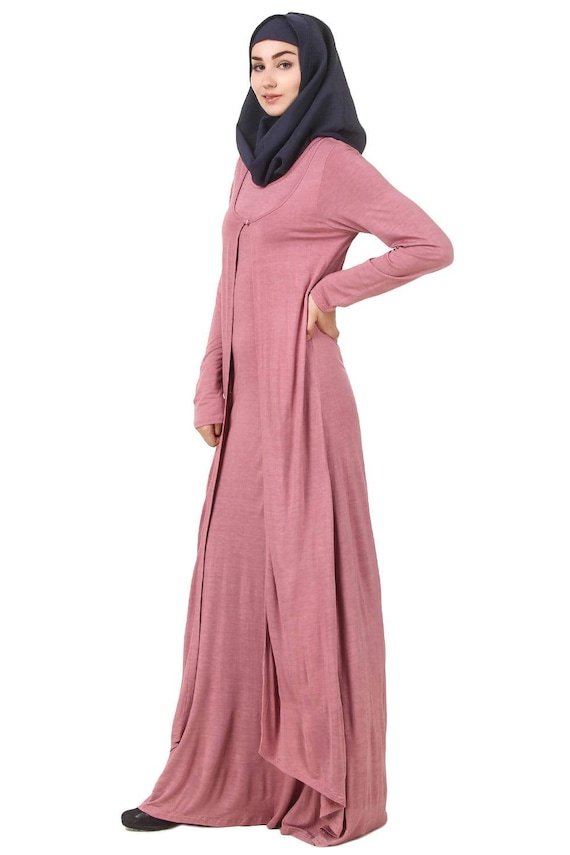 MyBatua Dusty Pink Jersey Casual Abaya Ropa De Mujer De