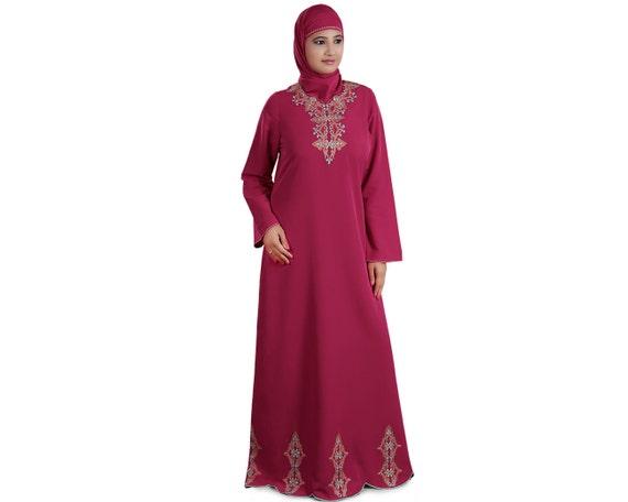 Stickerei Rosa Abaya Dubai Fancy Burka Elegante Jilbab   Etsy