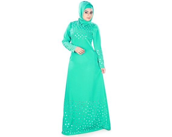 MyBatua trendy grünen Abaya mit Spiegel Arbeit bestickt   Etsy