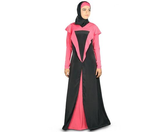 MyBatua fancy Designer schwarz und rosa Poly Krepp Abaya für   Etsy
