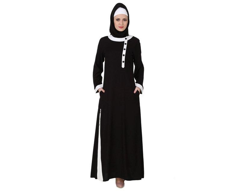 size 40 0a931 cc0fa Mybatua fantasia in bianco e nero rayon abaya, abito lungo da donna casual  e formale manica lunga musulmana, abbigliamento islamico, AY-447