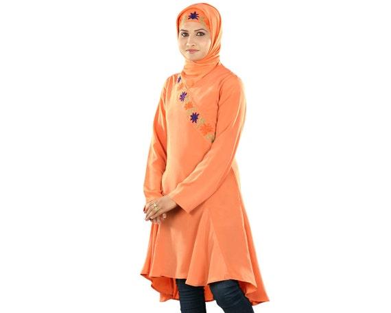 7acfd6e42d4 MyBatua Trendy Orange Polyester Beautiful Tunic Muslim Women | Etsy
