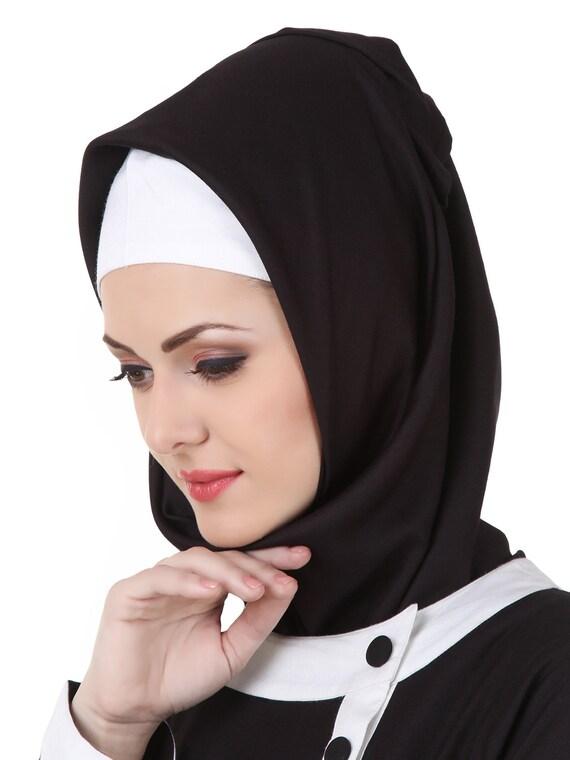 Mybatua Phantasie Schwarz Weiß Viskose Abaya, muslimische Frauen langärmlig lässig und formelle Kleidung Kleid, islamische Kleidung, AY 447