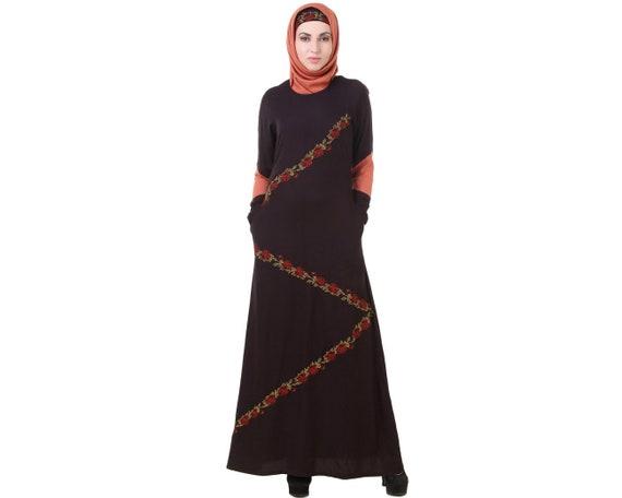 Mybatua Fancy Black And Redwood Abaya Muslim Formal And Etsy