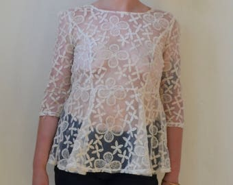 Beautiful ivory sheer, floral print blouse with skirted bottom-S