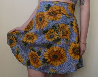 Blue and sunflower print cotton skirt- S/M