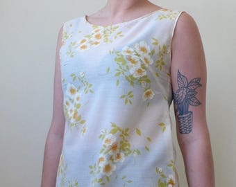 The sweetest thing- sheer cotton floral print sun dress from recycled material- S/M