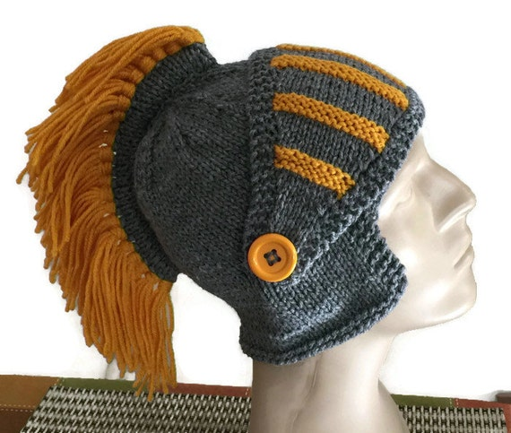 Knight Hat with Fringe Blade knitted sir knight hat  0594b08b936