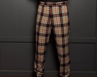 Man how burberry men s tartan plaid fabric men pants pants pants original  French creation really really soft a166ae57c