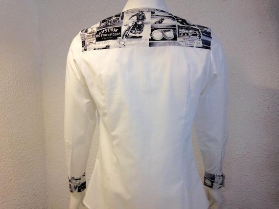 Shirt sleeves long fabric shirt with polka dots Japanese fabric shirt unique clothing shirt handmade French creation