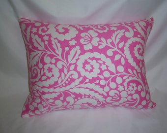 """One Pink and White Print  Pillow Cover  14"""" x 18"""""""