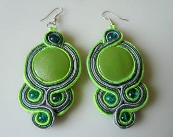Soutache/sutasz/braccialli earrings - green and grey
