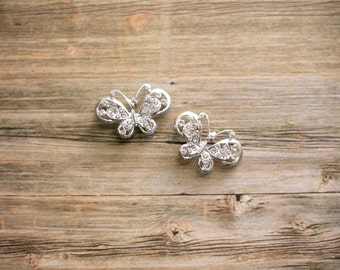 LIQUIDATION SALE! 2 - Butterfly Rhinestone Metal Craft Buttons with Shanks