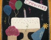 Celebrate Birthday or Anniversary Quilt Block Pattern for 8 quot Square, for quilt rack or wall hanging, for seasonal crazy quilt
