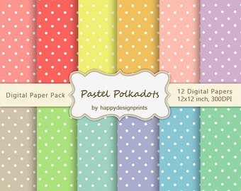 "Pastel Polkadots Wallpaper Digital Paper Pack of 12, 300 dpi, 12""x12"" Instant Download Pattern Paper Scrapbooking JPG"