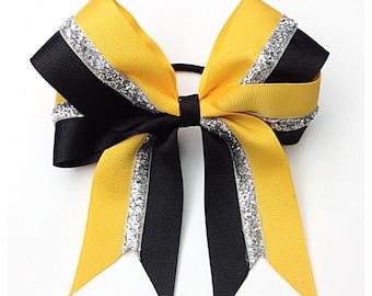 Custom Color, Silver Glitter & Black Bow