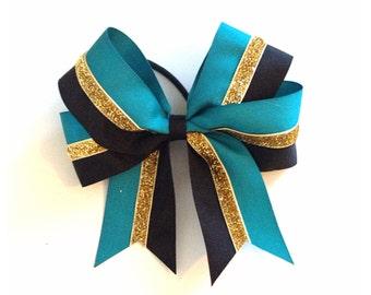 Custom Color, Gold Glitter & Black Bow