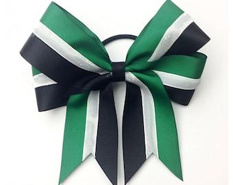 Custom Color, White Glitter & Black Bow