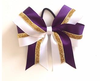 Custom Color, Gold Glitter & White Bow