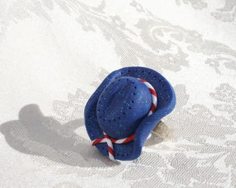 Anello regolabile Hat USA in pasta fimo 6db316ccba98