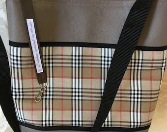 Faux leather fabric beige fancy Plaid shoulder bag