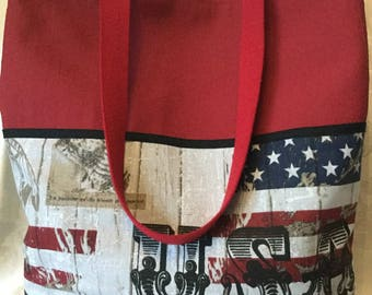 Fancy large tote in red imitation leather theme American flag
