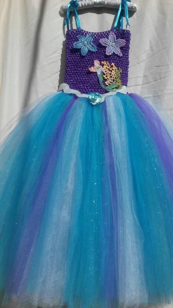 Vestido De Sirena Cumpleanos De La Sirenita Debajo Del Etsy