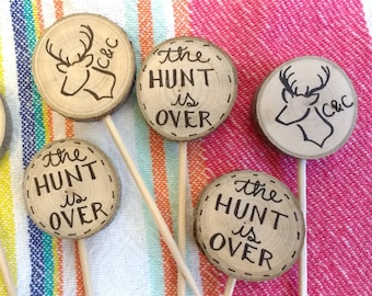 The Hunt is Over Deer Head Initials / Rustic Wedding Cupcake Toppers / Stag Antlers Hunter Bridal Shower Party Picks / Engagement Decor Cake