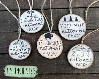 "SMALL (1.5"") National Park Christmas Ornament //  Custom Year Vacation Yellowstone Yosemite Glacier Smoky Rocky Mountain Grand Canyon Zion"