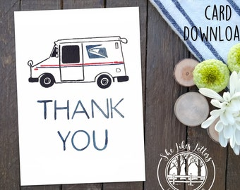 Thank You Download Mail Carrier Card for Mail Delivery Person / Printable File / Mail Carrier Thanks / Mail Truck Postal Service Postal