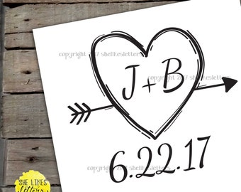Custom Wedding Logo Heart And Arrow Couples Initials Date Rustic Simple Minimalist Printable Digital Download File
