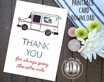 Mail Carrier Thank You Printable / Delivery Thank You Card Digital Download / Mail Carrier Thanks / Mail Truck Postal Service Postal Mailman