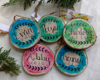 2018 Personalized Name Family Christmas Tree Ornament / Tree Slice Watercolor / Colorful Wood Ornament / Child Name Kid / Multiple Colors