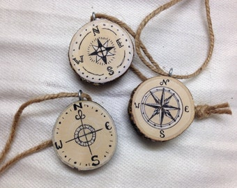 """Compass Designs 1.5"""" Tree Slice Christmas Ornaments (Set of 3) / Travel / Adventuring Lost Forest / Explore / Home Decor / Rustic Christmas"""
