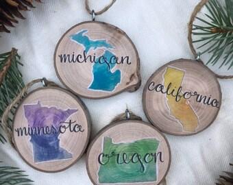 "State Christmas Ornament 2"" USA Mississippi Missouri Montana Nebraska Nevada New Hampshire New Jersey New Mexico New York North Carolina"