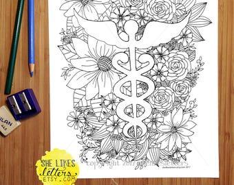 Nurse Coloring Page / Medical Floral Decor Adult Digital Download Printable Color grown up / RN Symbol Gift Physician Doctor Appreciation ER
