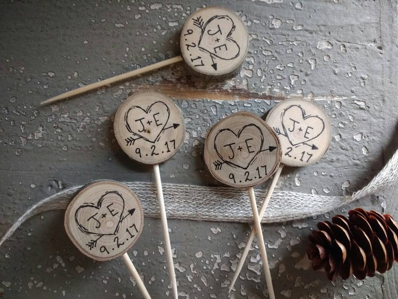 Cupcake Toppers Rustic Wedding Decor Custom Initials & Date / image 0