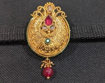 Bridal Dress Brooch,Bridesmaid Gif Dress Pins Indian Wedding Pins Long Thread Tassel Saree Pin Suit Lehanga Brooch Indian Gold Brooch
