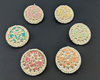 Oxidized Gold Plated Handmade Meenakari Round Kundan Studs Earraings Jewelry for women #GSGREEN