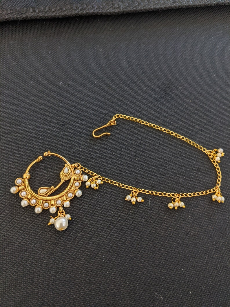 XL size Nose ring  Nath  Clip on Nose Rings with Pearl chain  Traditional Polki stone bead dangling nath  Indian Nath for wedding