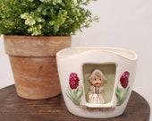 Vintage Dutch Girl Ceramic Planter