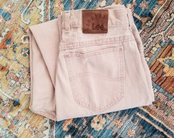 f9556c1c Vintage 80s 90s Blush Pink High Waisted Lee Riveted Denim Jean's Size 12