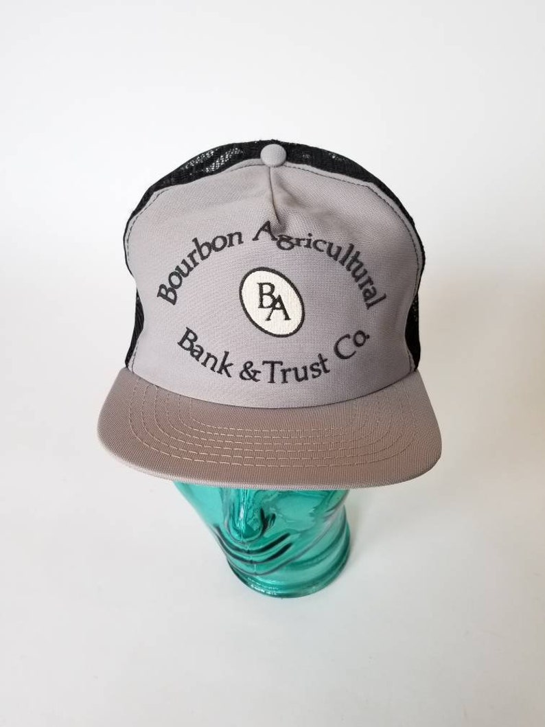 Vintage Bourbon Agricultural Bank and Trust Co  Mesh Snapback Trucker Cap