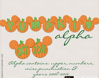 INSTANT DOWNLOAD**Magical Pumpkin Alpha - Digital Alpha Pack for Disney, Mickey Mouse, Vacations, School or Halloween