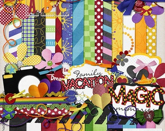 INSTANT DOWNLOAD**Essential Vacation Kit - Digital Scrapbook Kit for Disney, Mickey Mouse