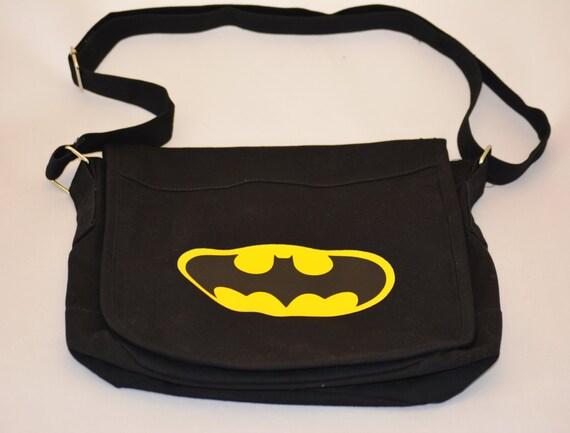 461e3d41177 Batman Canvas Messenger Bag Book Bag Satchel Preschool Bag Gym Bag Lunch  Bag Computer Tablet Bag