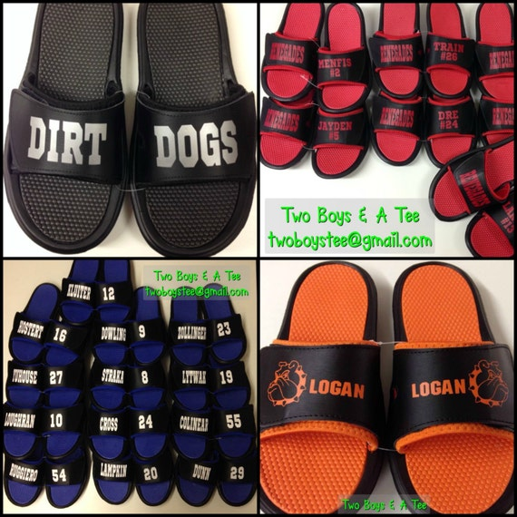 Items Similar To Personalized Custom Sports Sandal Slides